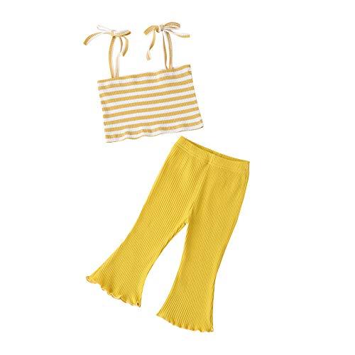 Eilecentyhzm Conjunto de ropa de bebé para niña (0 – 18 m), camisola con rayas arcoíris para bebé, parte superior a rayas y pantalones acampanados, estilo de verano fresco y dulce amarillo 90 cm