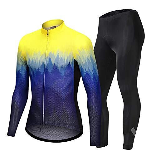 Fahrradtrikot Herren Set Professionelle Fahrradbekleidung mit atmungsaktivem Gel-Pad Farbverlauf Frauen Rennradbekleidung Sportanzug Radtrikot Rennradbekleidung (Größe: XL; Farbe: Gelb)
