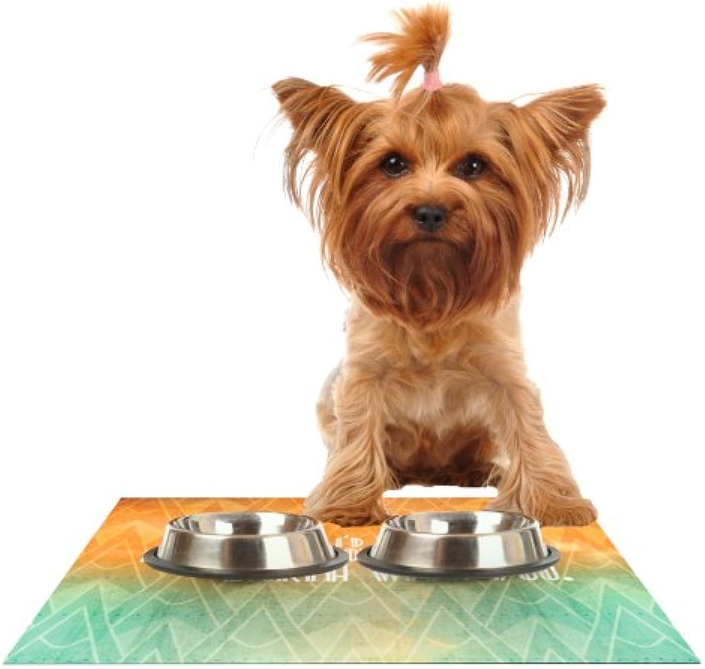 KESS InHouse KESS Original Deco II  Feeding Mat for Pet Bowl, 24 by 15Inch