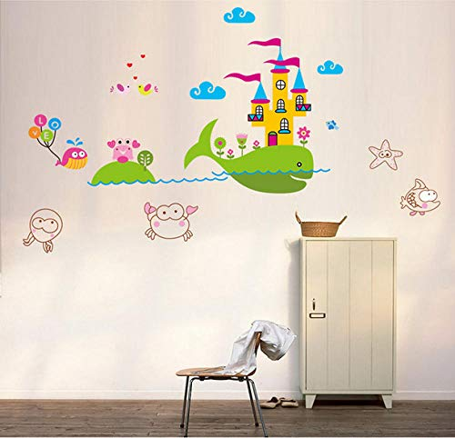 Stickers Muraux,Whale Castle Enfants Chambre Maternelle Chambre Salle De Bains Salle De Bains Stickers Muraux-60 * 90Cm