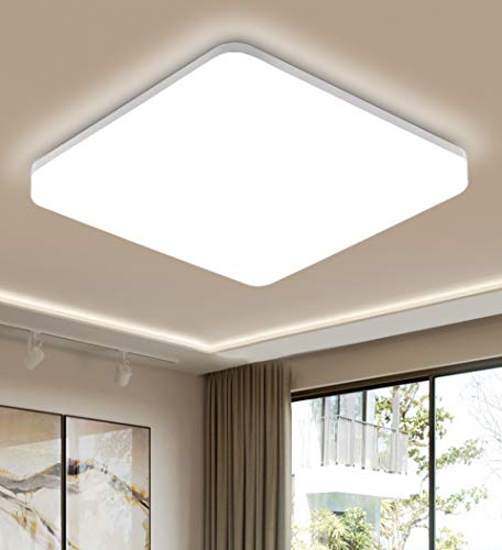 Oeegoo Deckenlampe 15W 1500lm, IP44 Wasserfest Badlampe, Neutralweiß 4000K LED Deckenleuchte Badezimmerlampe, LED Lampen für Badezimmer Balkon Flur Küche Wohnzimmer, 22x22cm