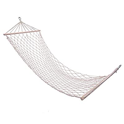 Tenozek Wood Pole Cotton Rope Hammock Bed with ...