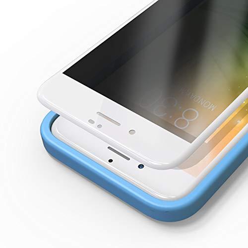 Bewahly Cristal Templado para iPhone 7 Plus/8 Plus [2 Piezas], 3D Completa Cobertura Protector Pantalla de Privacidad con Marco de Instalación Fácil, Anti-espía Vidrio Templado (Blanco)