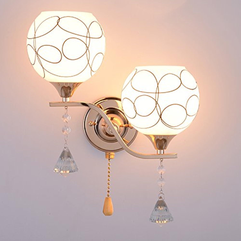 YU-K Moderne Wandleuchte LED Wandleuchte ideal für Bar Restaurant Cafe Wohnzimmer Schlafzimmer Flur Balkon, Gold, doppel Kopf, mit 7 W warmes Licht + Schalter