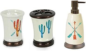 HiEnd Accents Cactus Bath Accessories, Red 4 Set