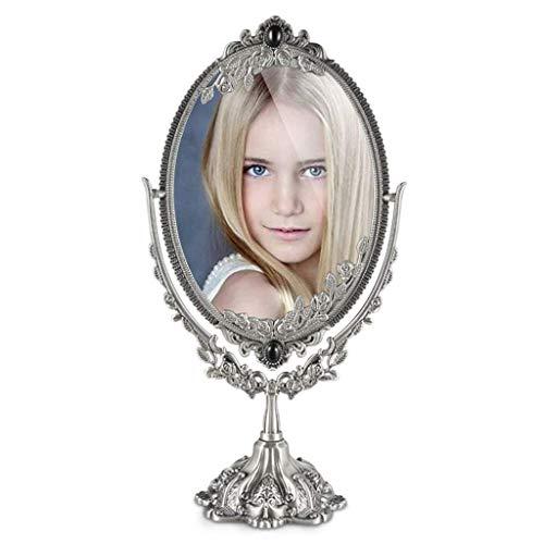 BD.Y Espejo de Mesa Independiente Adornado de Doble Cara Espejo de tocador Espejo de vanidad Vintage Espejo de baño para Dormitorio Shabby Chic Ancient Tin Fashion (Tamaño: Grande)