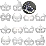 14 PCS DIY White Masks Paper Half Face Masquerade Masks Craft Mardi Gras Mask Plain Mask Paintable Blank Halloween Party Mask