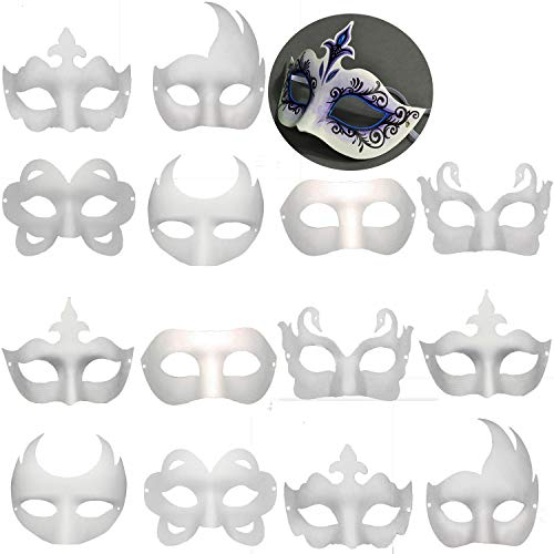 14 PCS DIY White Masks Paper Half Face Masquerade Masks Craft Mardi Gras Mask Plain Mask Paintable Blank Halloween Party Mask