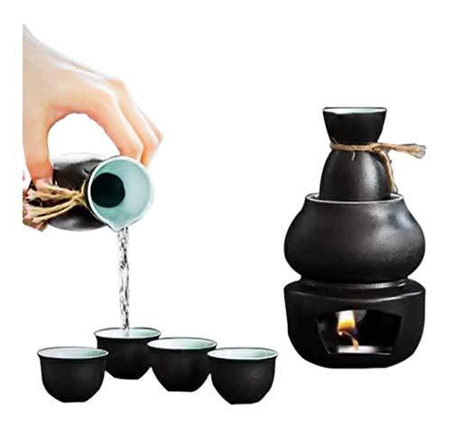 DWhui Cerámica Sake japonés Conjunto Motivo fijado con Calentador - Cerámica Tradicional Caliente Saki Conjunto de 6 Piezas Incluye Tiesto cálida Copa de Vino Frasco de la Cadera - Pintoresco Textura