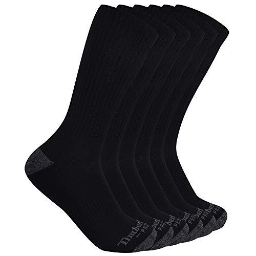 Timberland PRO Herren Men's Performance Crew Length 1/2 Cushion Socks 6-Pack Freizeitsocken, schwarz, Large