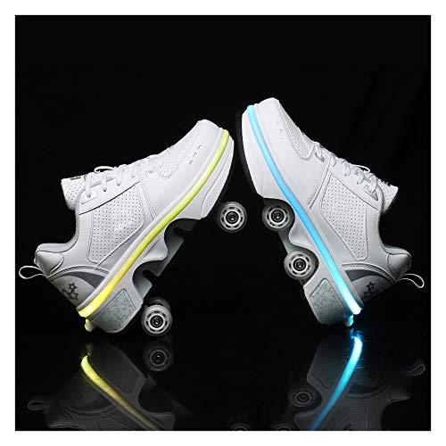 ZXSZX Patines Unisex Zapatos Multiusos 2 En 1, Botas De Patines De Cuatro Ruedas Ajustables con Batería De Litio Y Luces LED De Colores, Impermeables Y Lavables,33