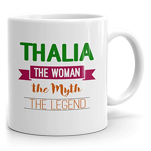 Thalia Coffee Mug Kaffeetasse Kaffeebecher Personalisiert mit Name - The Woman The Myth The Legend Gift for Frauen Women - 11 oz White Mug - Green
