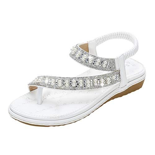 Luckycat Sandalias Planas Verano Mujer Estilo Bohemia Zapatos de Dedo Sandalias Talla Grande Cinta Elástica Casuales de Playa Chanclas Romanas de Mujer 2020 Rhinestone de Moda