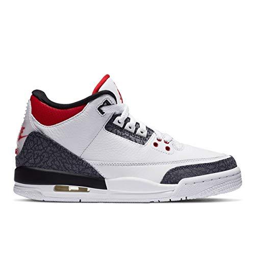 Nike Kid's Jordan 3 Retro SE Fire Red Denim Basketball Shoes (6.5)