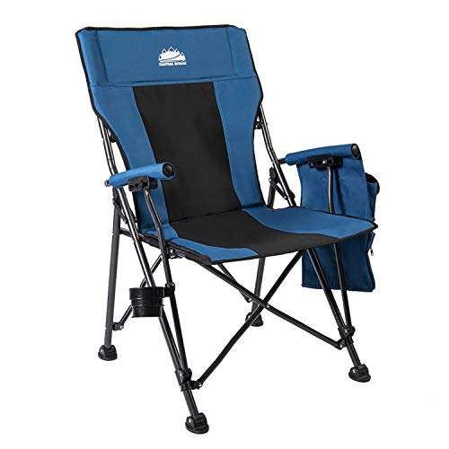 Coastrail Outdoor Folding Camping Chair High Back Padded Lawn Chair with Foldable Cup Holder, Side Storage, Back Pocket for Camping Hiking Heavy Duty 350 lbs Weight Capacity, Blue, Extra Large