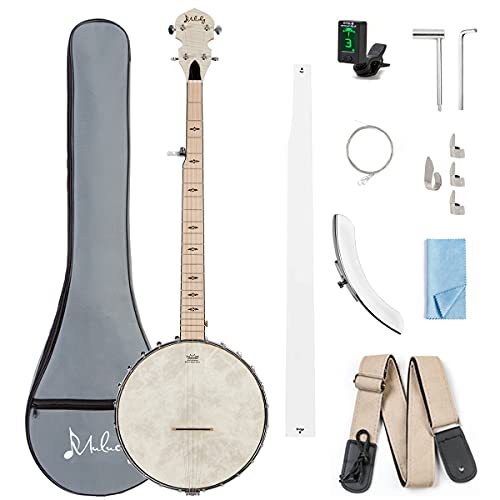 Mulucky 5 String Banjo - 24 Bracket 38 Inch Maple Body with Adjustable 2-Way Truss Rod for Professionals with Beginner Kit Wrench Gig Bag Tuner Picks Strings Strap - B1101