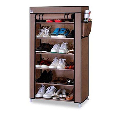 Shefii Shoes Rack Organizer Shelf 6-Tier Shoe Tower Shelf Storage Cabinet Nonwoven Shelf