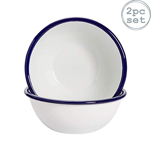 "Argon Tableware Premium White Enamel Cereal Bowls - 155mm / 6"" - Blue Trim - Pack of 2"