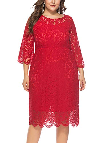 FEOYA - Mujer Vestido de Noche Encaje Cuello Redondo para Ceremonia Boda Banquete Falda Larga de Fiesta con Manga 3/4 Talla Grande
