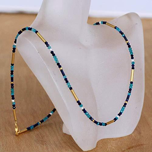 Perlenkette blau türkis gold weiß Lapislazuli Süßwasserperlen Apatit Silber 925
