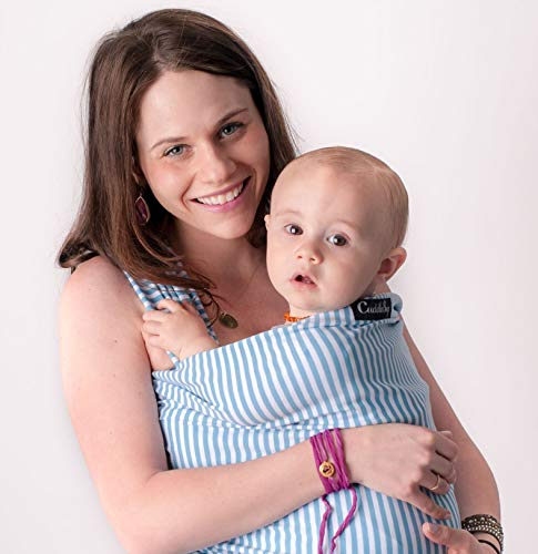 CuddleBug Tragetuch Baby Erstausstattung + Tragetuch Baby – Babytrage Neugeborene & Kleinkinder bis 16 Kg - Hände frei Baby Tragesystem- Ideal für Babyparties - Einheitsgröße - Blauer Streifen