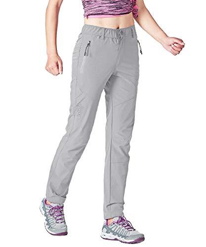 Gopune Women OutdoorWater Resistant Quick Dry Lightweight Slim Mountain Hiking Pants (Light Grey,2XL)