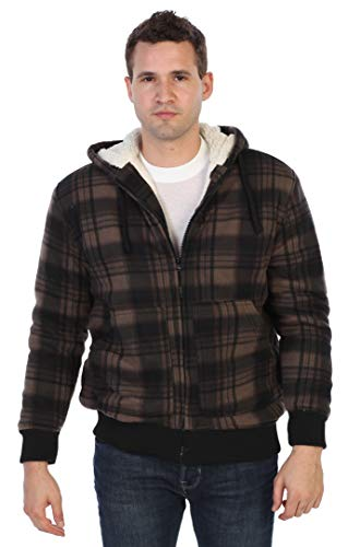Gioberti Mens Checkered Flannel Hoodie Jacket with Sherpa Lining, Brown/Black, S
