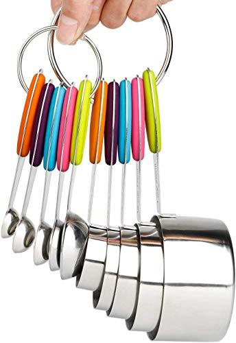 Camaka tazas medidoras y cucharas medidoras, juego de 10 tazas y cucharas de medición de acero inoxidable coloridas, cucharas de hornear de acero inoxidable con mango de silicona