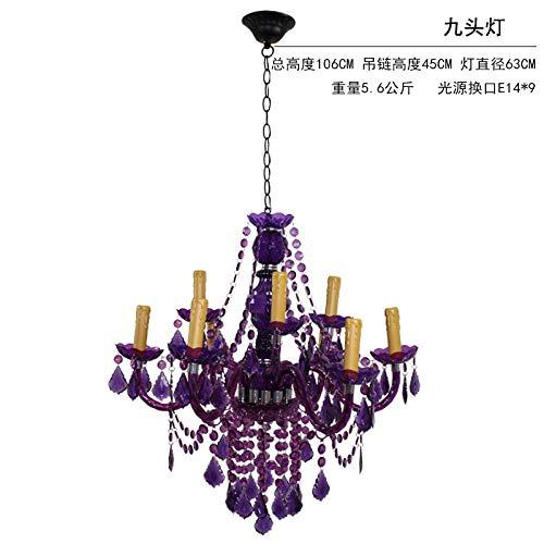 Hanglampen, hanglampen, plafondlamp, hanglamp, hanglamp, hanglamp, slaapkamer, trappenhuis, restaurant, verlicht, purperrood, glazen kaarsen, grote kandelaar