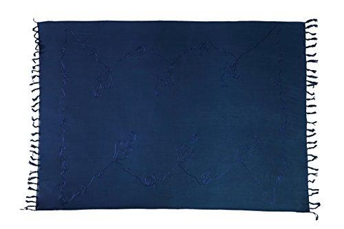 Ciffre Premium Sarong Pareo Wickelrock Strandtuch Lunghi Dhoti Schlicht Blickdicht Tolle Stickerei Dunkel Blau + Schnalle
