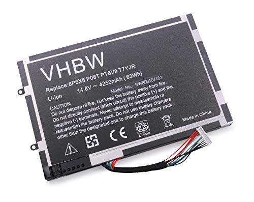 Batterie Li-Polymer vhbw 4250mAh (14.8V) pour Notebook Dell Alienware M11x, M11xR2, M11xR3, M14x, M14xR2. Remplace: 08P6X6, 0DKK25, 0PT6V8 et Autres.