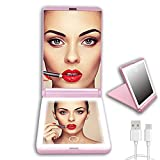 ONELAS LED Lighted Compact Mirror,HD Small Vanity Mirror,1X 2X Magnification Travel Makeup Mirror Double Sided,Rechargeable Light Mirrors, Handheld,Portable Folding For Pocket,Girls,Friend,Gift (Pink)