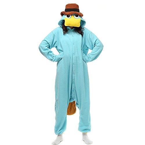 Erwachsene Unisex Pyjamas Kostüm Jumpsuit Tier Schlafanzug, Blau, XL(179cm-188cm)