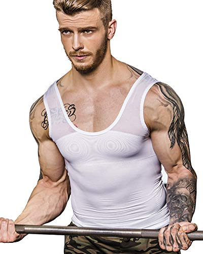 Shaxea Extreme Gynecomastia Compression Shirt to Hide Man Boobs Moobs Slimming Mens Shapewear(M,White)