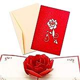 Tarjeta de Felicitación de Flor Emergente 3D, Tarjetas de Cumpleaños Románticas de Aniversario de Boda, Tarjeta de Amor de San Valentín para Amantes de Las Mujeres y Los Hombres