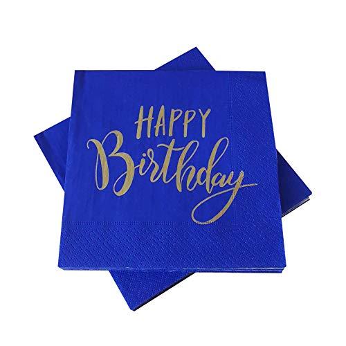 in due 20 Servietten 'Happy Birthday' Blau & glänzendes Gold 33x33 cm zum Geburtstag