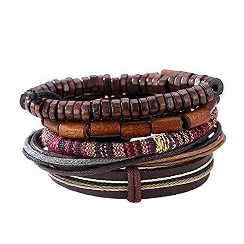 Populares de múltiples capas de la pulsera del cuero de la vendimia con Hippy Naturales Cuentas de madera cuerda trenzada brazalete de cuero fresco pulsera de la pulsera de la mujer del hombre