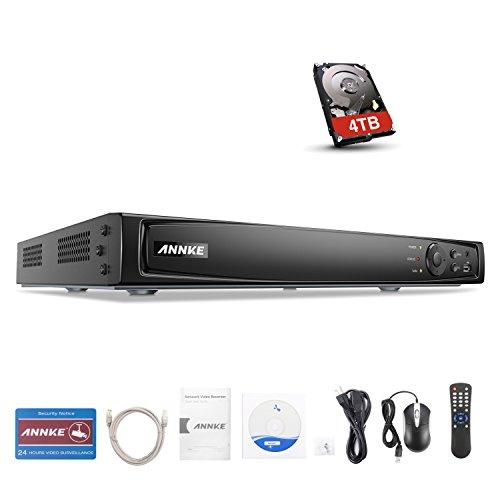 ANNKE POE NVR 16 Kanal 4K Netzwerk Video Rekorder, ONVIF 2.4 kompatibel, Aufzeichnungsgerät, 8MP Netzwerkrekorder mit 4TB Festplatte für CCTV Sicherheit Überwachungssystem