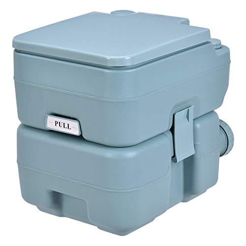 COSTWAY Toilette Portable WC Chimique Portable pour Camping Caravanes Hôpital, Toilette Chimique 20L HDPE (Gris-Vert)