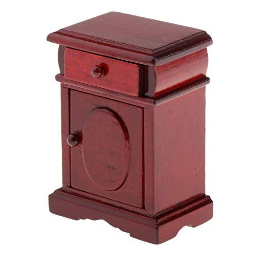 yunyu Puppenhaus Möbel, 1/12 Puppenhaus Vintage Mahagoni Nachttisch aus Holz