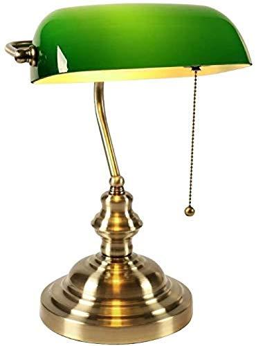 AbesterLámpara de pie moderna iluminación clásica retro simple lámpara de mesa banquero E27, lámpara de mesa con pantalla de cristal verde con interruptor, para lectura en el dormitorio y estudio