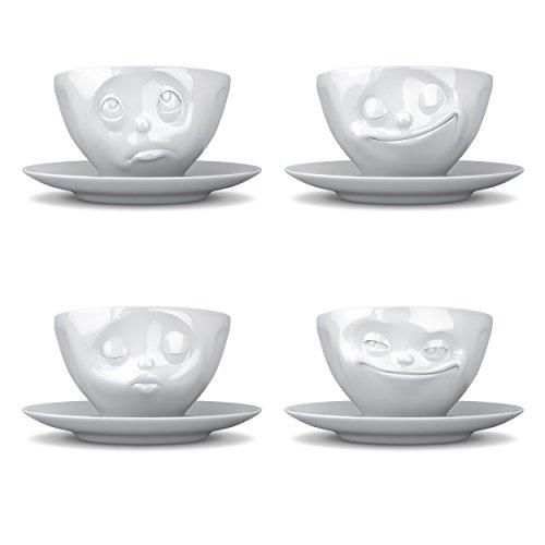Fiftyeight TV Tassen Kaffeetasse 4er Set, Küssend, Grinsend, Glücklich, Och Bitte, Kaffee Tasse, Cappuccinotasse, mit Untersetzer, aus Porzellan, Weiß, 200ml