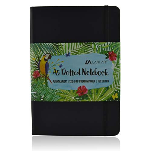 Lani Art Dotted Bullet Journal Notizbuch A5 Gepunktet, Hardcover Dot Grid Notebook, Premium Papier 120g/m², Kunstleder Notizbuch Punktkariert (Schwarz)