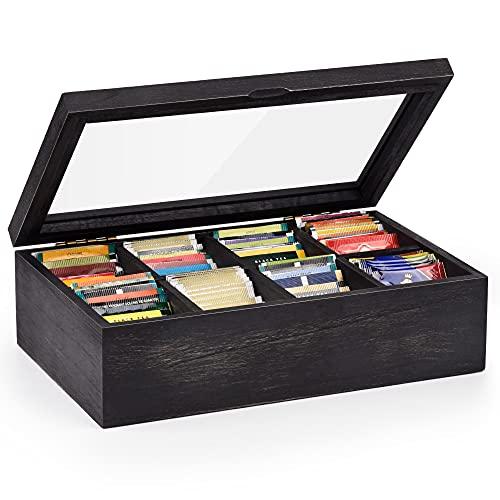 Alsonerbay Teebox aus Massivholz, Teekiste mit 8 Fächer und Sichtfenster, Vorratsbox für Teebeutel Kaffeeweißer Gewürzbeutel, Schwarz