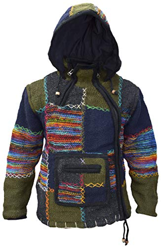 Little Kathmandu Herren Wolle, Patchwork, Kangaroo, Tasche gefüttert, Fleece, Handarbeit, Winterjacke, Kapuze Gr. Large, Mehrfarbig – Single Zip Kangaroo