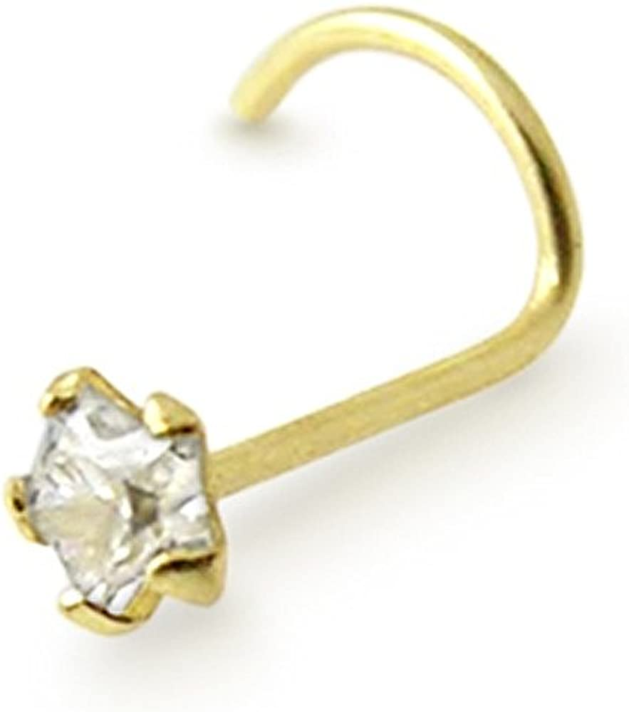 9K Solid Max 52% Great interest OFF Yellow Gold 3mm Nose CZ Star Body Jewelry