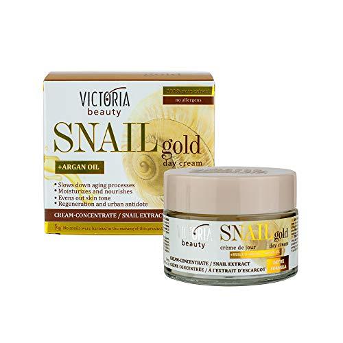 Victoria Beauty - Schneckenschleim Creme, Schneckencreme mit Arganöl, Gesichtscreme gegen Falten und Augenringe für Frauen und Männer, Snail Cream (1 x 50 ml)