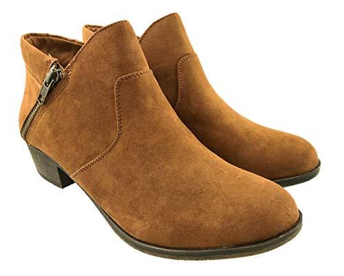 American Rag Ladies Faux Suede Cowboy Ankle Boots Side Zip Block Heel Brown...