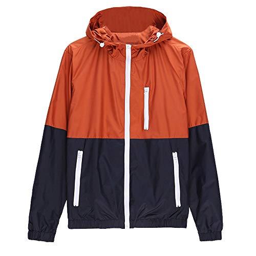 MRULIC Herren Populär Regenjacken Windbreaker Mantel Funktionsjacke Sportsjacke zum Wandern und Klettern RH-062(Orange,EU-52/CN-XXL)