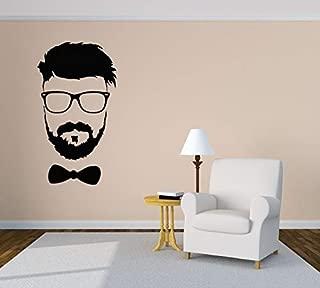 Wall Vinyl Sticker Man Beard Glasses Bow-Tie Barber Shop Mural Decal Art Decor LP2052